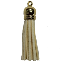 50mm Cream Leather Look Tassel