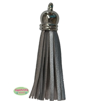 50mm Silver Leather Look Tassel