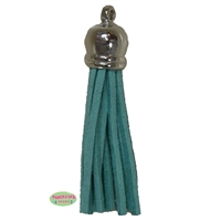 50mm Turquoise Leather Look Tassel