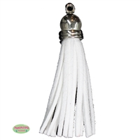 50mm White Leather Look Tassel