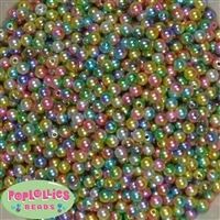 6mm Rainbow Ombre Pearl Spacer Beads