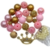 Pink and Gold Rhinestone Crown DIY Necklace Kit
