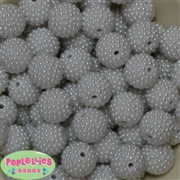20mm White Berry Acrylic Bubblegum Beads