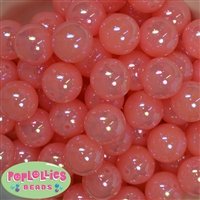 20mm Coral Shiny AB Bubble Style Acrylic Gumball Bead