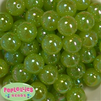 20mm Lime Green Shiny AB Bubble Style Acrylic Gumball Bead