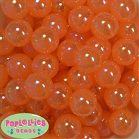 20mm Orange Shiny AB Bubble Style Acrylic Gumball Bead