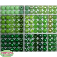 Bulk Mix of Green Bubblegum Beads 120pc