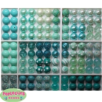 Bulk Mix of Mint to Teal Bubblegum Beads 120pc
