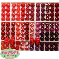 Bulk Mix of Red Bubblegum Beads 120pc