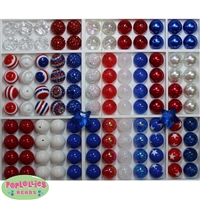 USA Theme Bubblegum Beads Bulk Mix 120pc