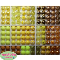 Bulk Mix of Yellow Bubblegum Beads 120pc
