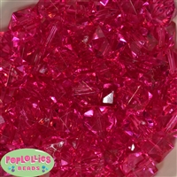 20mm Clear Hot Pink Ice Cube Bubblegum Bead
