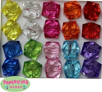 20mm Clear Mix Color Ice Cube Bubblegum Beads
