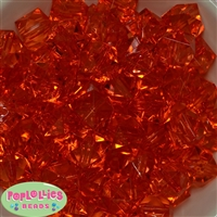20mm Clear Orange Ice Cube Bubblegum Bead