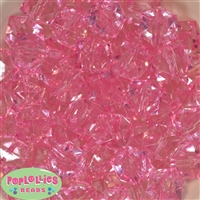 20mm Clear Pink Ice Cube Bubblegum Bead