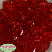20mm Clear Red Ice Cube Bubblegum Bead