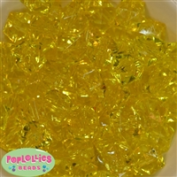 20mm Clear Yellow Ice Cube Bubblegum Bead