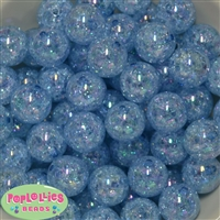 20mm Baby Blue Crackle Bubblegum Bead Bulk