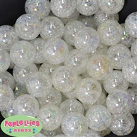 20mm Cream Crackle Bubblegum Bead Bulk