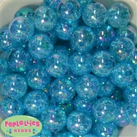 20mm Bulk Cyan Blue Crackle Beads
