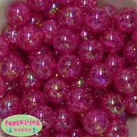 20mm Hot Pink Crackle Bubblegum Bead Bulk