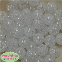 20mm White Crackle Bubblegum Bead Bulk