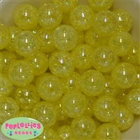 20mm Yellow Crackle Bubblegum Bead Bulk