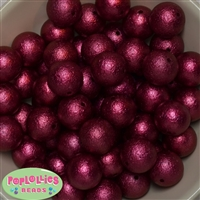 Burgundy/Wine Crinkle Faux Pearl Beads