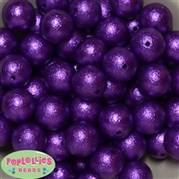 Deep Purple Crinkle Faux Pearl Beads