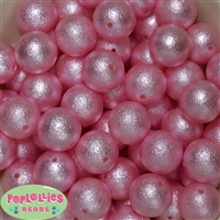 20mm Pink Crinkle Faux Pearl Bubblegum Beads