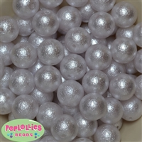 20mm Snow White Crinkle Faux Pearl Beads