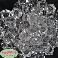 20mm Clear Ice Cube Bubblegum Bead Bulk