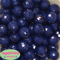 20mm Navy Blue Disco Ball Bubblegum Beads Bulk