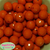 20mm Orange Disco Ball Bubblegum Beads Bulk