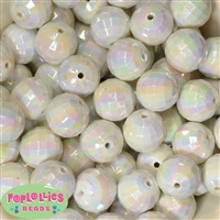 20mm White Disco Ball Bubblegum Beads Bulk