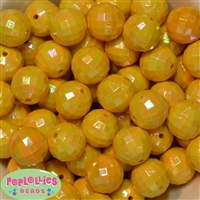 20mm Yellow Disco Ball Bubblegum Beads Bulk