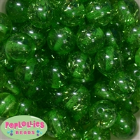 Clear Green Glitter Acrylic Bubblegum Beads
