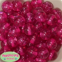 Clear Hot  Pink Glitter Acrylic Bubblegum Beads