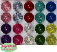 20mm Mix of Clear Glitter Acrylic Bubblegum Beads
