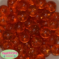 Clear Orange Glitter Acrylic Bubblegum Beads
