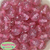 20mm Clear Pink Glitter Acrylic Bubblegum Beads