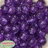 20mm Clear Purple Glitter Acrylic Bubblegum Beads