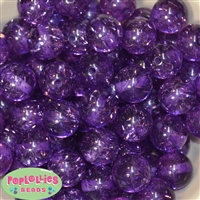 20mm Clear Purple Glitter Acrylic Beads