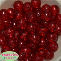 Clear Red Glitter Acrylic Bubblegum Beads