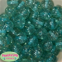 20mm Turquoise Clear Glitter Acrylic Bubblegum Beads