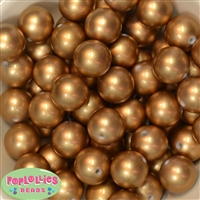 20mm Matte Gold Acrylic Pearl Bubblegum Beads