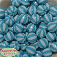 Cyan Blue Melon Stripe Beads