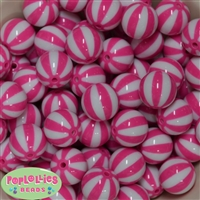 20mm Hot Pink Melon Stripe Bubblegum Beads