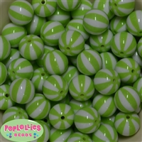 20mm Lime Green Melon Stripe Bubblegum Beads