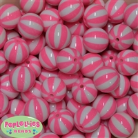 20mm Pink Melon Stripe Bubblegum Beads